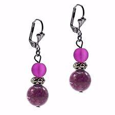 Dangle Drop Beaded Fashion Earrings Silver Purple Howlite Stone Leaverbacks