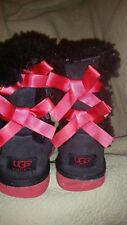 BAILEY BOWS  UGG AUSTRALIA LITTLE GIRLS WINTER BOOTS SIZE 3 BLACK SUEDE