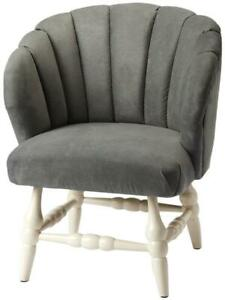 ACCENT CHAIR FARMHOUSE COUNTRY ROUND TURNED LEGS CURVED BACK DISTRESSED GRA