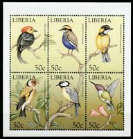 Liberia Stamps 1999 MNH World Birds Goldfinch Finches Hummingbirds 6v M/S II