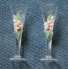 "Crystal, Pearl and pink rose 8"" wedding toasting champagne flute glasses"