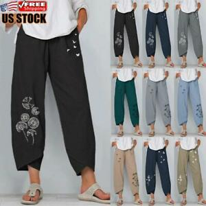 Women Printed Cotton Linen Baggy Casual Harem Pants Ladies Summer Loose Trousers