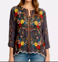 JOHNNY WAS Cabo embroidered top button down blouse Medium oversize New