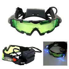 Adjustable Day Night Googles Green Lens Glasses Eyeshield w/ Flip-out Lights