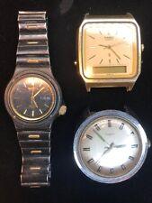 Estate E Lot 3 Vtg Retro 50s Seiko Sport Casio Quartz Timex Electric Watch Faces