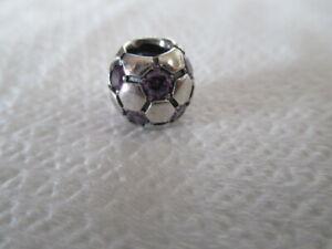 GENUINE PANDORA PURPLE SOCCER BALL CHARM SILVER + AMETHYST CZ  790444ACZ