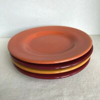 4 Corsica Home Salad Plates Orange Yellow Burgundy Red Stoneware Handcrafted EUC