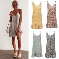 Women's Boho Sleeveless V-Neck Floral Sundress Ladies Summer Beach Shirt Dresses