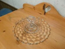 Vintage Fostoria Clear Glass Sandwich Platter Cube Pattern 11 inches