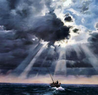 Oil painting seascape canoe on ocean with waves before storm canvas no framed