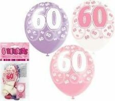 Glitz Pink Purple White 60th Birthday Party Supplies Pack of 6 Helium Balloons