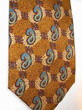 """Joseph Abboud Men's Silk Tie 57"""" X 4"""" Gold w/ blue Paisley"""