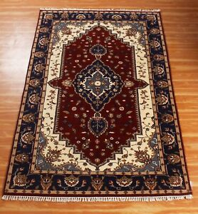 Indian Handmade Area Oriental Rugs 5x8ft  Red Blue 'Nalolup' Hand Knotted Carpet