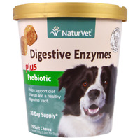 NEW NATURVET DIGESTIVE ENZYMES PLUS PROBIOTIC FOR DOGS DAILY PET HEALTHY CARE
