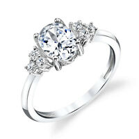 Oval Shaped CZ Sterling Silver Bridal CZ Engagement Wedding Ring Cubic Zirconia