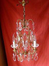 lustre bronze et cristal type à cage à 4 bras de lumière époque début 20éme
