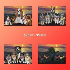 Family Sunset Dog Cat Jigsaw Puzzle, Pet Photo Lovers Gift Kids Toy Mind Games