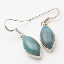 "1.4"" Gift For Jewelry T10389 Natural Larimar Handmade Ethnic Earrings Size"