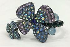 Betsey Johnson Flower Floral Posy Bracelet Blue & Purple Crystal Bling NWT