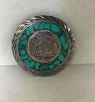 Sterling Silver Aztec Mayan Brooch Pendant round Mexico Turquoise missing stone