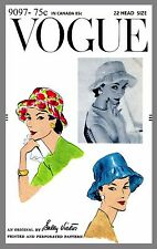 Vintage Vogue Designer Sally Victor Hat Fabric material sewing pattern # 9097