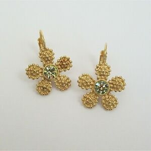 Kate Spade Marguerite flower earrings gold tone lever back yellow crystal daisy