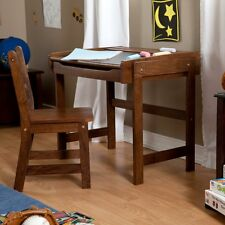 Chalkboard Storage Desk and Chair Set -, Walnut, 1