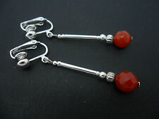 A PAIR OF SILVER PLATED RED CARNELIAN  BEAD CLIP ON EARRINGS. NEW.
