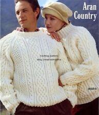 (532) Aran Knitting Pattern Classic Men Women Boy Girl Aran Sweaters, 34-44''