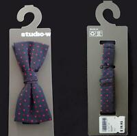 STUDIO-W NAVY BLUE BOW TIE TUXEDO with RED POLKA DOTS - STILL on ORIGINAL CARD
