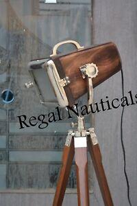 Designer Nautical Wooden Spot Light Floor Lamp With Tripod Stand Home Decor