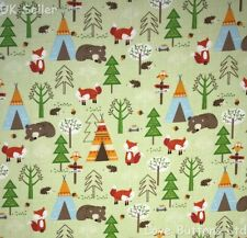 ROSE AND HUBBLE FOX BEAR CAMPING PRINT GREEN FABRIC 100% COTTON 112cm WIDE METRE