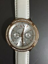 Authentic Armani Exchange 38 mm Rose Gold Watch RRP $279 White Leather AX5405
