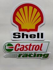 CASTROL OIL RACING SHELL MOTORSPORT RALLY x 2 VINYL DECAL STICKERS UK SELLER