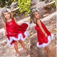 Mädchen Weihnachts Kleid Weihnachten rot Pailetten Gr. 116