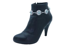 Femme Argent Bohémien Coffre Chaîne Bracelet Shoe Fleur Breloque Bleu Turquoise