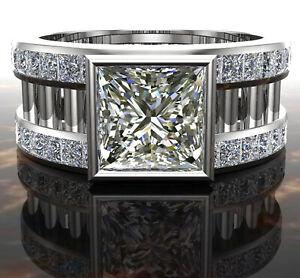 3.55 ct Brilliant Princess Near White Moissanite Diamond .925 silver Men's Ring