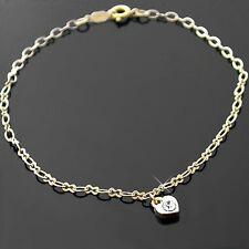 """HEART CRYSTAL CHARM 10"""" Fancy OPEN link 14K GOLD EP Anklet Ankle Foot Chain 