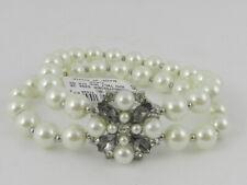Charter Club Silver-Tone Imitation Pearl, Stone & Crystal Double Row  Bracelet