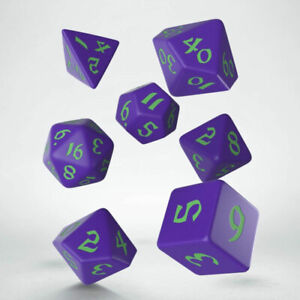 Classic Runic 7 Piece Polyhedral Dice Set - Purple & Green