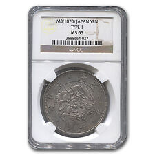 1870 (M3) Japan Silver 1 Yen Meiji Era MS-65 NGC - SKU #132101