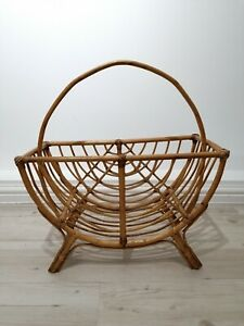 Vintage Boho Bamboo Curved Magazine Rack Wicker Rattan Cane Tiki Scandi Retro #2
