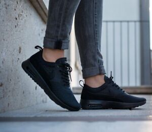 Nike Air Max Thea Ultra Flyknit TRIPLE BLACK trainers shoes sneakers Size 6