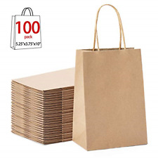 "Gssusa 100pcs Brown Kraft Paper Bags 5.25"" x 3.75"" x 8"",Handled, Shopping, Gift,"
