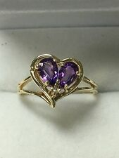 14k Gold Ring With Amethysts And Diamond