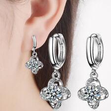 Women's Hot Elegant 925 Sterling Silver Zircon Clover Dangle Ear Hoop Earrings