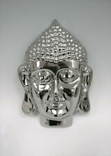 Silver Chrome Thai Buddha Head Zen Wall Plaque. 28 cm