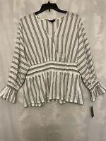 INC International Concepts Women's Plus Size 2X Striped Smocked-Waist Top NWT