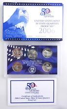 2006 US Mint 50 STATE QUARTERS  Proof Set w/ Box & COA 5 Coins  C1