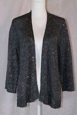 NY NEW YORK COLLECTION Gray Polyester Blend Bling Open Front Sweater Top Size XL
